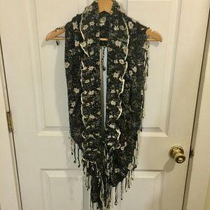 100% Rayon Knit Floral Wrap Scarf w/ Fringe